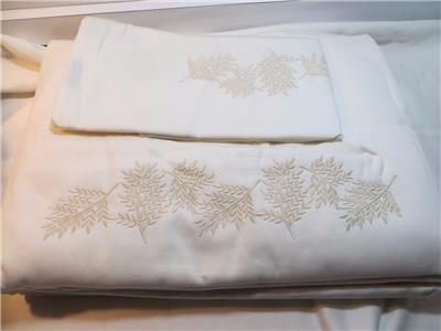 Capecchi Italy 7pc 600c Ivory With Beige Embroidery Queen