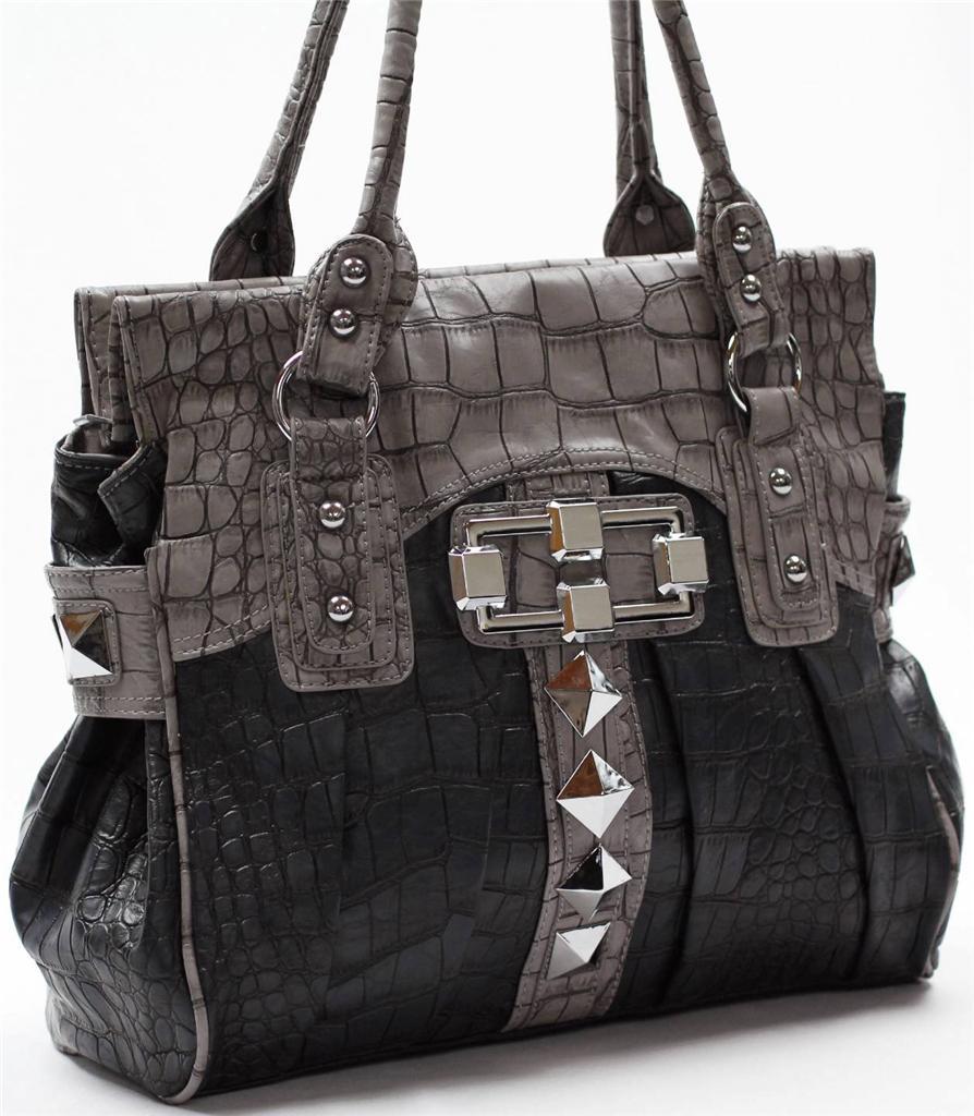 Large Handbag Shoulder BAG Satchel 2 Compartments Studs ...