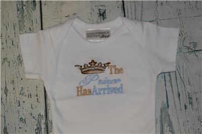 New Baby Boy Embroidered Body Suits The Prince has arrived