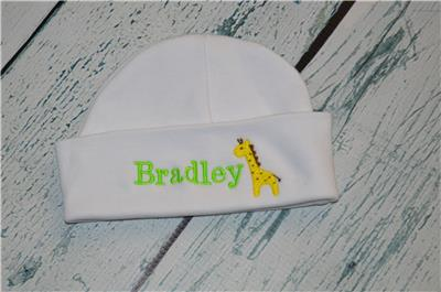c2a2f22c0258e PERSONALIZED Baby Hat - Monogram w  Name   Giraffe Embroidered Infant  Beanie Cap