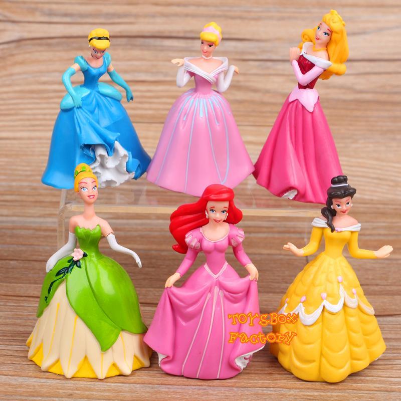 6x Disney Princess Cinderella Aurora Belle Ariel Doll Toy