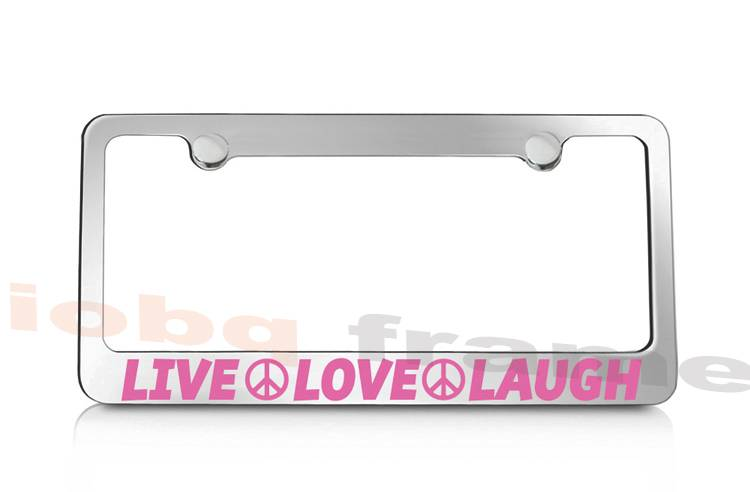 Live Love Laugh White Art Peace Positive Happy Black License Plate Frame FD3