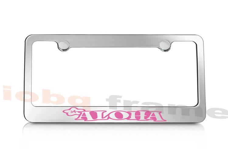 Free Caps PLUMERIA ALOHA hawaii hawaiian pink supreme license plate frame