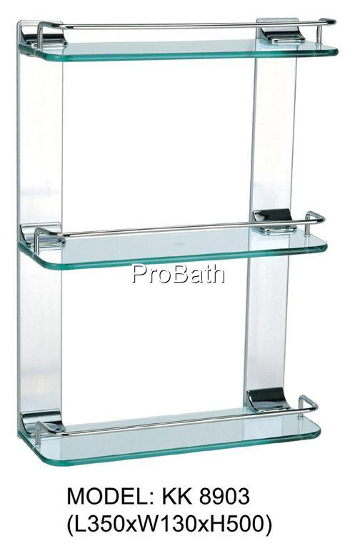 PROBATH Bathroom TRIPLE GLASS SHELF W/Chrome Finish
