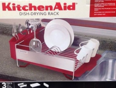 kitchenaid dish drying rack 3 piece red dish drainer new ebay. Black Bedroom Furniture Sets. Home Design Ideas