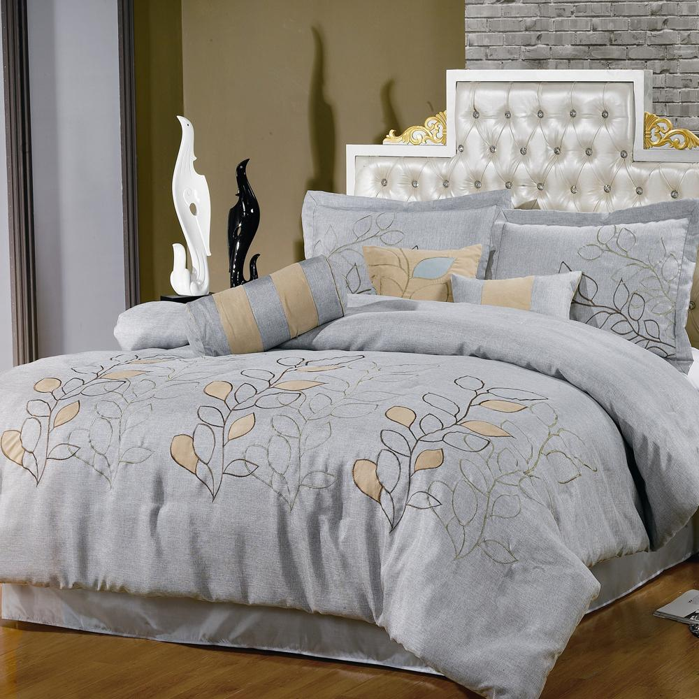 Silver Linen Oversized 7 Piece Comforter Set Full Queen